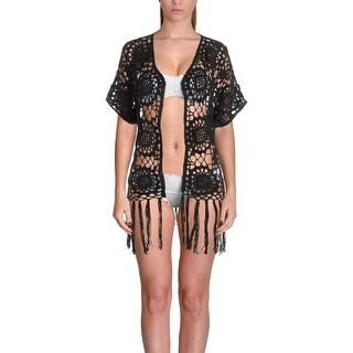 Elan Womens Crochet Fringe Swim Top Cover-Up