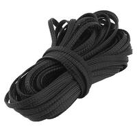 Unique Bargains 4mm Dia 15m Length Black Wire Nylon Braided Expandable Cable Sleeve