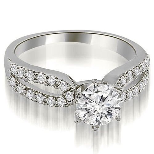 1.15 cttw. 14K White Gold Exquisite Split Shank Round Diamond Engagement Ring