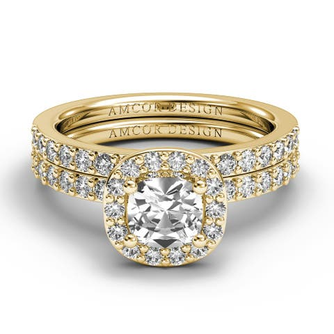 14KT Gold 1.38 CT Halo Diamond Engagement Ring Bridal Set Cushion Cut Wedding Band Amcor Design