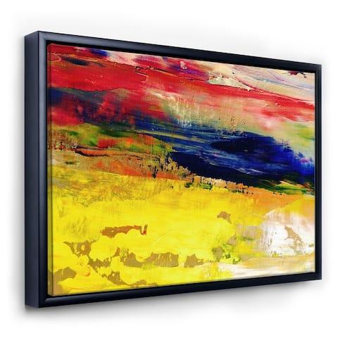 Designart 'Oil On Canvas Textured Composition II' Modern & Contemporary Framed Canvas Wall Art Print