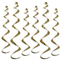 """Club Pack of 36 Metallic Gold Twirly Whirly Hanging Decorations 36"""""""