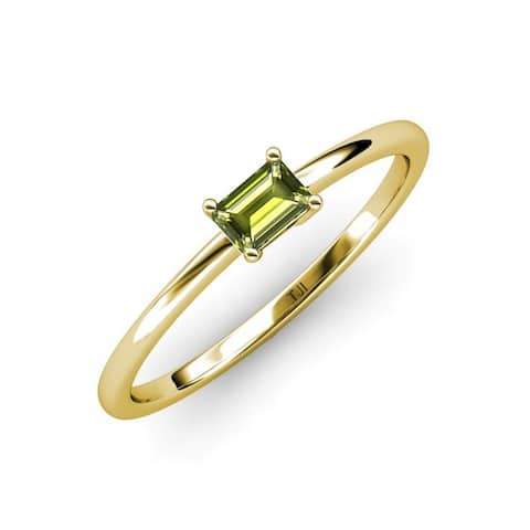 TriJewels Peridot 5/8 ct Womens Solitaire Engagement Ring 14K Gold