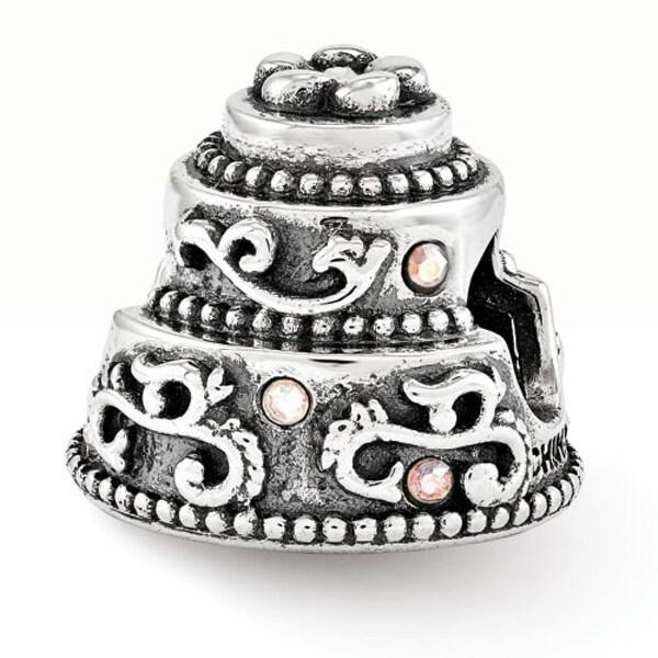 Sterling Silver Reflections Swarovski Wedding Cake Bead (4mm Diameter Hole)