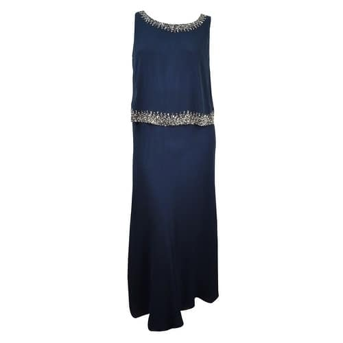 J Kara Women\'s Plus-Size Beaded Scoop-Neck Crepe Gown - Navy/Mercury