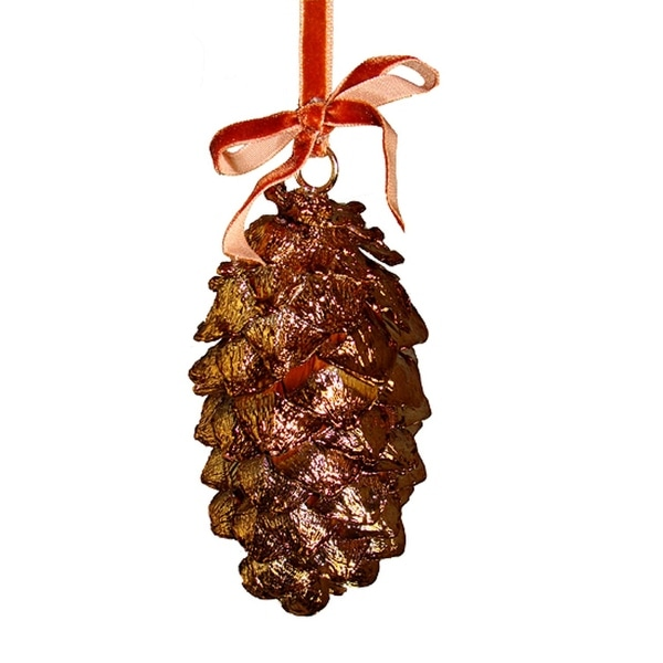 "6"" Lustrous Metallic Bronze Pine Cone Christmas Ornament"