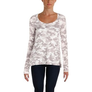 Kensie Womens Thermal Top Waffle Knit Camouflage