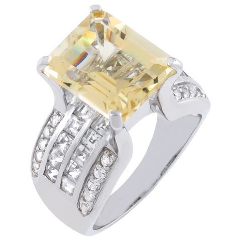 6.85cttw Emerald-Cut Yellow Sunstone Engagement Ring, Sterling Silver