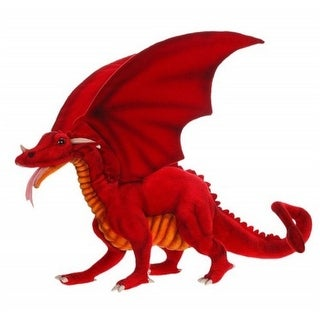 "22.75"" Life-Like Handcrafted Extra Soft Plush Red Great Dragon Stuffed Animal"