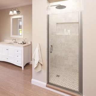 "Basco A0071-1CL Infinity 72"" High x 28"" Wide Hinged Framed Shower Door with Clear Glass (Option: Nickel Finish)"
