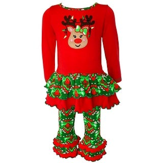Link to AnnLoren Girls Boutique Winter Holiday Rudolph Reindeer Tunic and Legging Set Similar Items in Girls' Clothing