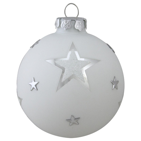 "3.25"" White and Silver Star Glass Ball Christmas Ornament"