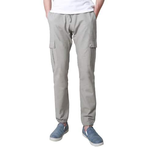 Men Basic Slim Fit Drawstring Tapered Joggers Cargo Pants