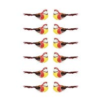 """Pack of 12 Graceful Elegance Red and Yellow Bird Christmas Ornaments 5.25"""""""