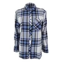 Confess Juniors' Long Sleeve Plaid Shirt