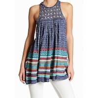 Free People Blue Womens Size Small S Crochet Striped Knit Top