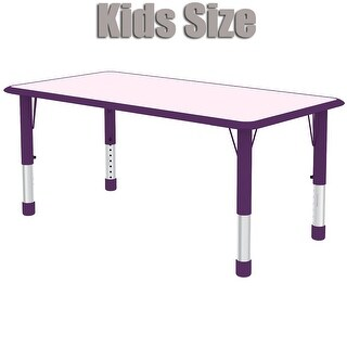 2xhome - Purple Kids Table Height Adjustable Rectangle Shape Activity Table School Table Childs Bright Colorful Table Preschool