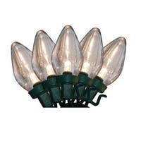Set of 50 Warm White LED C9 Christmas Lights - Green Wire - Clear