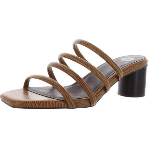Yellow Box Womens Caspia Heels Faux Leather Open Toe - Tan - 10 Medium (B,M)
