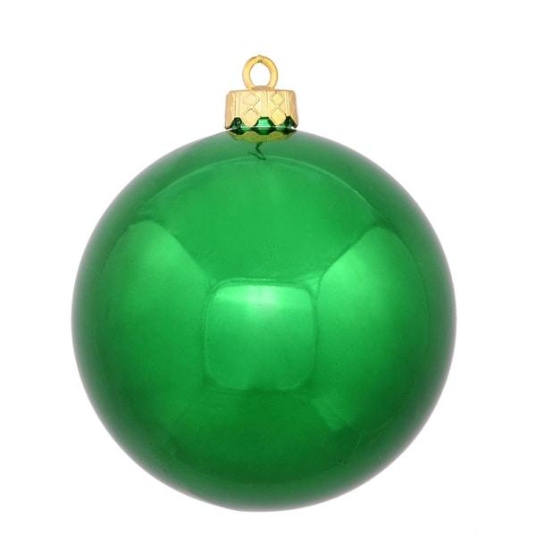 "Shiny Xmas Green Shatterproof Christmas Ball Ornament 4"" (100mm)"
