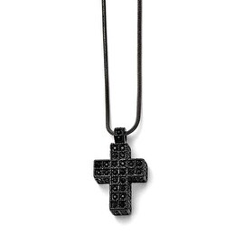 Chisel Stainless Steel Black IP-plated Black Crystal Cross with 2in ext Necklace - 17.75 in