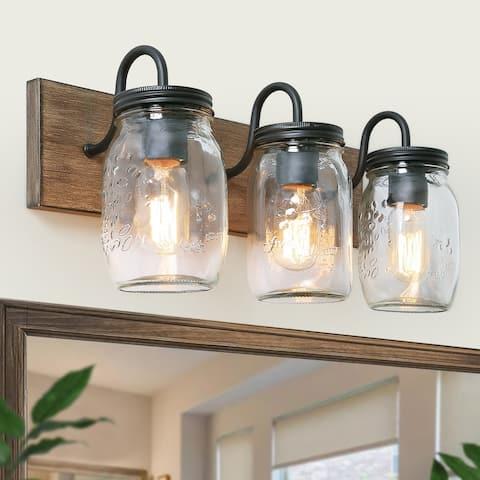"Farmhouse Vanity Light 3-Light Mason Jar Bathroom Light - 18""L x 9""H"