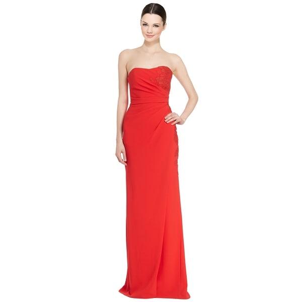 ML Monique Lhuillier Floral Lace Mock Wrap Strapless Evening Gown ...
