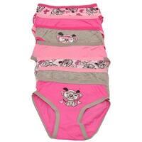 Sweet n Sassy Little Girls Pink Gray Dog Print 7 Pc Brief Underwear Pack