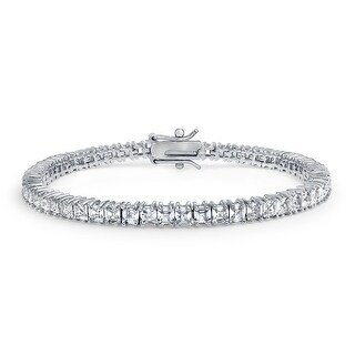 Bling Jewelry CZ Asscher Cut Bridal Tennis Bracelet 7.25in Rhodium Plated