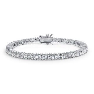 Link to Square Asscher Cut CZ Channel Set Tennis Bracelet Brides Silver Plated Similar Items in Bracelets
