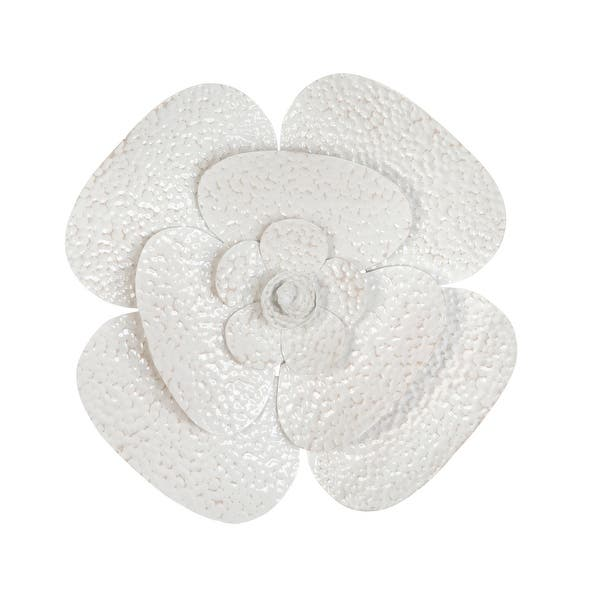 Shop Stratton Home Decor Blooming White Flower Metal Wall Art 15 75 X 1 97 X 15 75 Overstock 31945508