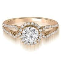 0.85 cttw. 14K Rose Gold Halo Split-Shank Round Diamond Engagement Ring