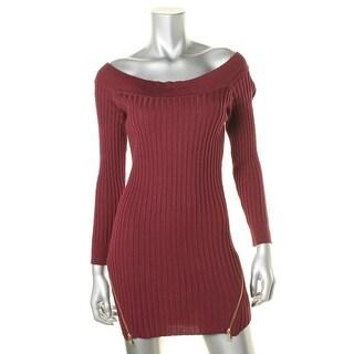 Material Girl Womens Juniors Knit Zip Detail Sweaterdress