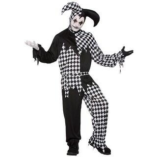 Mens Dark Jester Renaissance Costume - standard - one size
