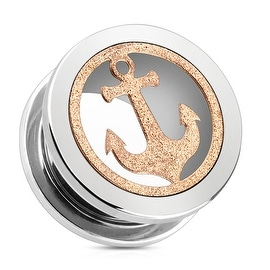 Rose Gold Glittery Anchor with 316L Surgical Steel Screw Fit Tunnel (Sold Individually)
