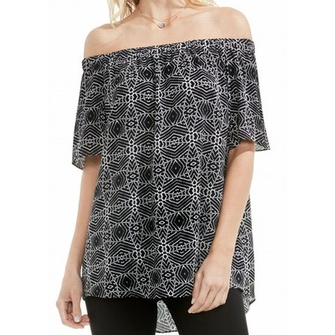 Vince Camuto Black Women Size Small S Off Shoulder Geo Sheer Blouse