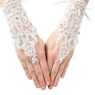 Girls White Coiled Lace Sequin Fingerless Communion Flower Girl Gloves