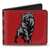 The Rock Stripe Bull Pose + Autograph Red Black Gray White Bi Fold Wallet - One Size Fits most
