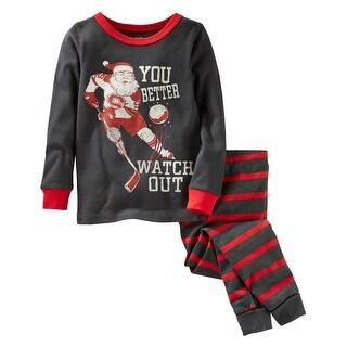 OshKosh B'gosh Baby Boys' 2-Piece Santa Snug Fit Cotton PJs, 12 Months - gray