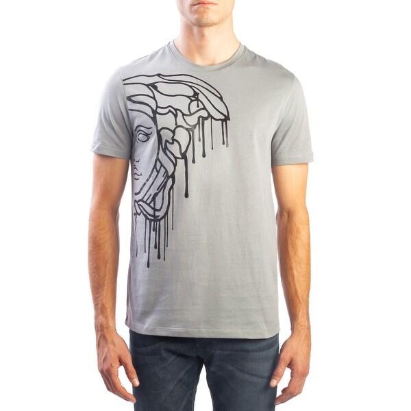 3b7bdfd1 Versace Collection Men's Cotton Medusa Drip Graphic T-Shirt Grey