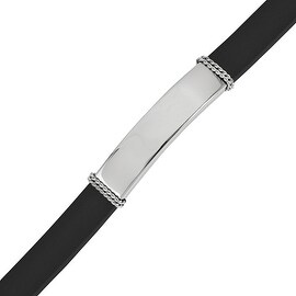 Chisel Stainless Steel Polished Rubber ID Bracelet