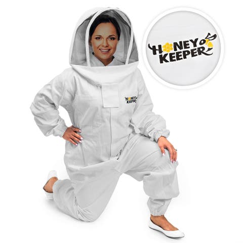 Cotton Full Body Beekeeping Suit with Veil Hood - Honey Keeper