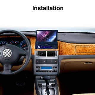 Single 1 Din 7 Inch GPS Flip Car Stereo Radio Player Touch Screen USB SD