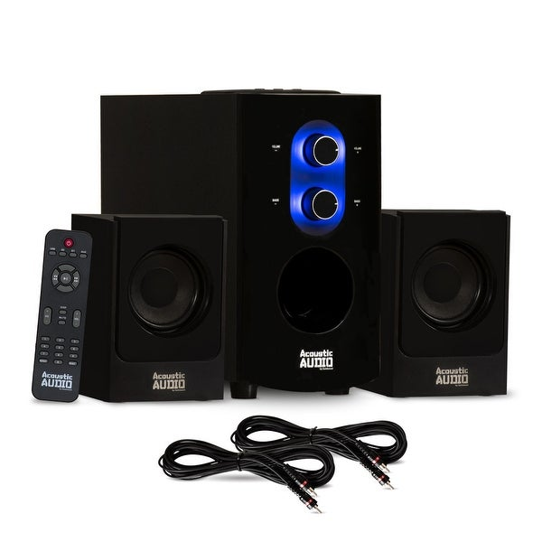 Acoustic Audio AA2130 Bluetooth Home 2.1 Speaker System with 2 Ext. Cables