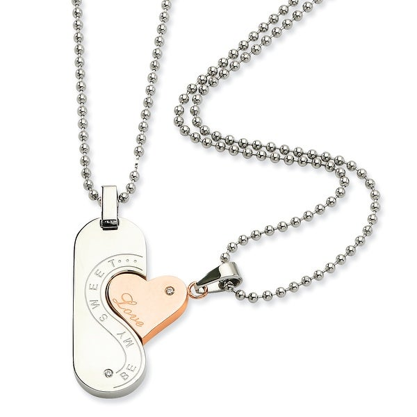 Chisel Stainless Steel Polished & Rose Gold Plated Pendant Set 22 Inch Necklace (2 mm) - 22 in
