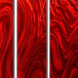 Statements2000 Huge Red 5 Panel Metal Wall Art Painting By Jon Allen   Red  Hypnotic Sands