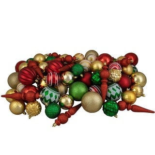 Link to 75ct Red, Green and Gold Shatterproof 3-Finish Christmas Ball Ornaments Similar Items in Christmas Decorations