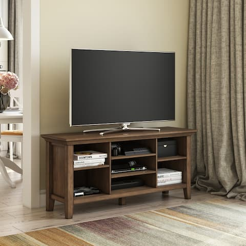 WYNDENHALL Mansfield SOLID WOOD 53 inch Wide Transitional TV Media Stand in Rustic Natural Aged Brown For TVs up to 60 inches