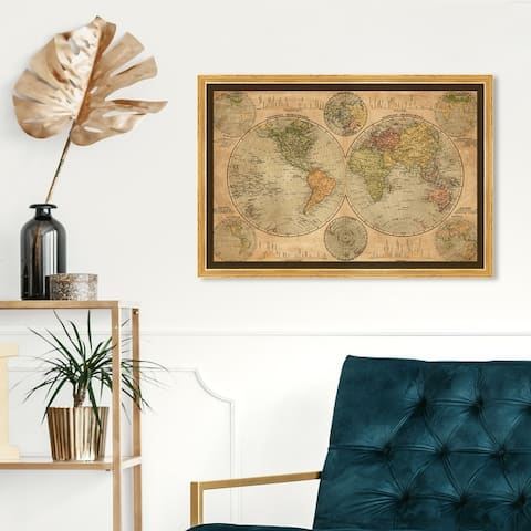 Oliver Gal 'Hemispheres Map 1891' Maps and Flags Wall Art Framed Canvas Print World Maps - Brown, White