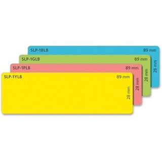 Seiko SLP-4AST Seiko Address Label - 3.5 Width x 1.12 Length - 130/Roll - 4 / Box - Yellow, Green, Blue, Pink